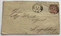 Ganzsache Norddeutscher Bund 1868 Nordhausen nach Magdeburg