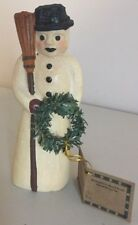 "Country Snowman w/Broom & Wreath glittered figurine 6.25""H. w/Tag resin"