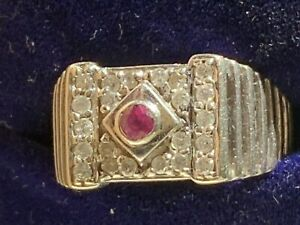 9T WHITE GOLD GENTS MENS HERREN LADIES RING DIAMONDS & RUBY SIZE M1/2 5.2 GMS