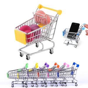 Children's Mini Metal Shopping Trolley & Basket Pretend Role Play Kids Toy~.