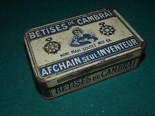 """ANCIENNE Petite BOITE """" BETISES DE CAMBRAI """" EN TOLE sérigraphiée S165"""