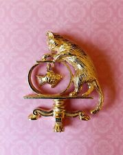 Vintage Avon Signed Cat and Dangling Fish in Fish Bowl Gold Tone Pin/Brooch