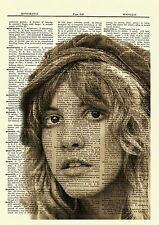 Stevie Nicks Female singer Portrait Dictionary Art Print Book Page Mixed Media