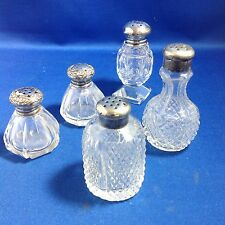 FIVE SALT & PEPPER SHAKERS, CUT GLASS, STERLING SILVER OR PEWTER TOPS, MIX MATCH
