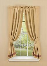 """Window Curtain - Panel Pair 63"""" L - Sturbridge Burlap & Check in Wine-"""