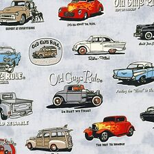 OLD GUYS RULE CLASSIC CARS ON CHARCOAL FABRIC MATERIAL, From Robert Kaufman NEW