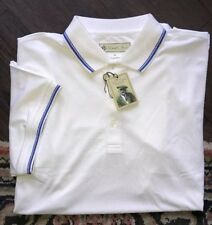 Mens NEW W TAGS Donald Ross Performance Polo Golf Shirt XL White w Sapphire