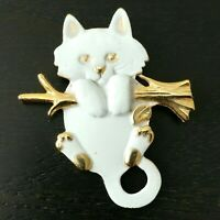 2x Kawaii Cat Face and Tail Brooch ~ Funny Cat Metal Pin Brooches Cat Lover Gift