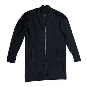 Athleta Long Jacket Sweater Ribbed Zip Up Black Size Medium J2E