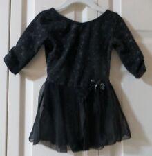 Danskin  Black Skirted 3/4 Ruched Sleeve Star Print Dance Leotard  Size XS-(4-5)