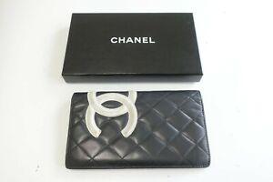 Authentic CHANEL Cambon Black Lamb Skin Wallet Purse #9573