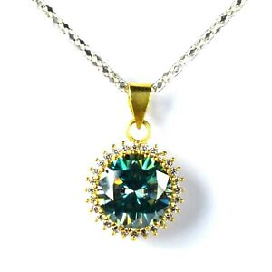 Certified Gift Sales 11.29 Ct Blue Diamond Solitaire Gold Finish Halo Pendant