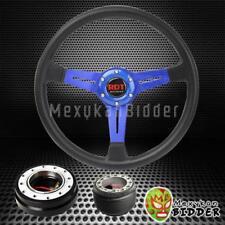 "14"" Black Blue Steering Wheel + Black Quick Release Hub For Acura Integra 94-01"