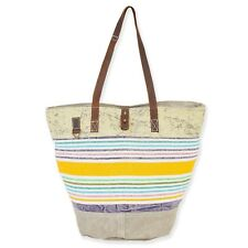 Uchi Stripe Canvas Tent Material Up-Cycled Vintage Design Tote Handbag New