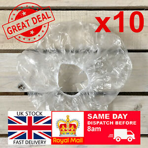 10 x Elastic Disposable Shower Caps Hat Waterproof Clear Hair UK