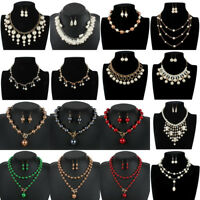 Fashion Womens Choker Chunky Bib Pearl Statement Pendant Necklace Chain Jewelry