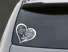 LOVE HEART ROSE Vinyl Decal Sticker Car Window Wall Bumper Laptop Symbol 6""