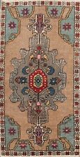 Geometric Semi Antique Authentic Oushak Turkish Area Rug Wool Hand-knotted 2'x3'