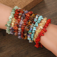 Unisex Women Men Gemstone Crystal Chip Beaded Stretch Charm Bracelet-15 Color-SS