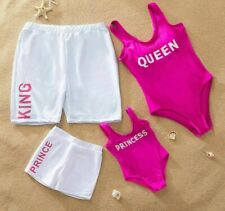 Family Swimsuits New Solid Letter Printed One-piece Swimsuit Matching Beach Wear