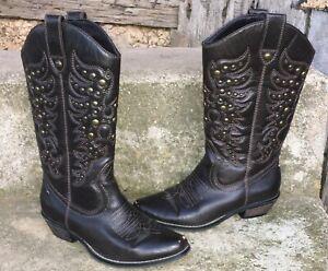 Lime Light Limelight Dunn 2 Brown Studded Cowboy Western Boots Womens 7 M
