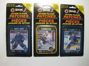 3 NHL Action Player Patches 1993 NEW   Felix Potvin Pavel Bure Alexander Mogilny