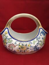 Nippon Porcelain Basket / Bowl Hand Painted With Colorful Flowers And Leaves