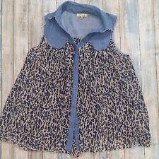 CECICO Anthropologie Tunic Denim Blue Leopard Print Sleeveless Womens S