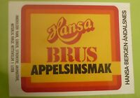 1970s NORWAY SOFT DRINK CORDIAL LABEL, HANSA BRYGGERI BERGEN, APPELSINSMAK 3