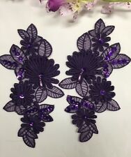 2 Pieces, Gorgeous 3D floral applique pair,Beaded,Sequined,Full stich quality,