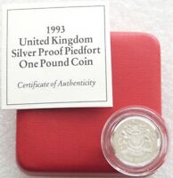 1993 Royal Mint Royal Arms Piedfort £1 One Pound Silver Proof Coin Box Coa