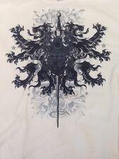 St672 JF Men's Beige Long-Sleeved Dragon & Sword T-Shirt 2XL