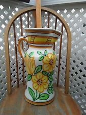 """Huge Vintage Pitcher Vase Made in Spain 17 1/2"""" Tall Pottery Vase with Flowers"""