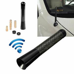 "Universal 3"" Black Aluminum Alloy Carbon Fiber FM AM Radio Car Antenna Aerial BA"