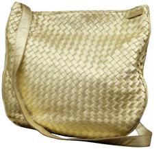Bottega VENETA Intrecciato Cuero Tejido Dorado Metálico Messenger Bag 858211
