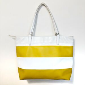Coach Large Tote Bag Purse White and Yellow Stripe Coated Canvas 30511