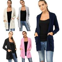 Womens Ladies Open Long Sleeve Comfy Knitted Longline Cardigan Stretch Jumpers