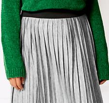 M&S Ladies Skirt Silver Grey Metallic Pleated Maxi 26 BNWT Marks Curve £45