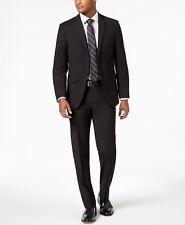 Van Heusen Flex Men's Slim-fit Stretch Black Neat Suit 40r / 33w Flat Pant