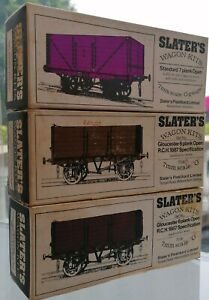 7MM O-SCALE SLATER'S WAGON KITS x 2 & 1 finished 6/7 plank Open wagon