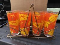 Vintage Mid Century Modern set of 8 glasses in Gold tone Metal Caddy