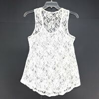 BKE Buckle Lace Tank Top Shirt Womens Size L Large White Sheer