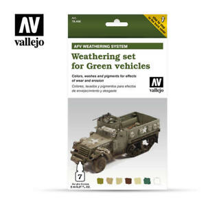 AIRBRUSH PAINTS - VALLEJO AFV WEATHERING KIT FOR GREEN VEHICLES - 78.406