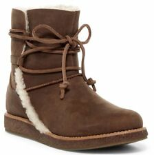 Ugg Australia Luisa Brown Leather Winter Snow Ankle Boot Womens Size 7