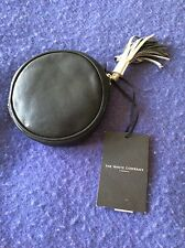 CIRCULAR LEATHER POUCH, NAVY, THE WHITE CO. NEW