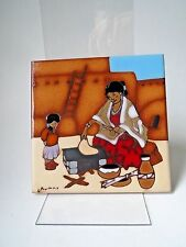 "Southwest Ceramic Tile Earthtones Kuhne Trivet Table Top Wall Art Decor 6""x6"""