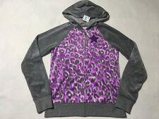 NWT Justice 14 Gray Purple Leopard Velour Zip Front Hoodie Jacket Glitter Star