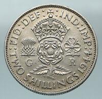 1944 Great Britain United Kingdom King George VI SILVER 2 SHILLING Coin i84578