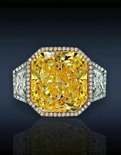 25ct Intense Yellow Three Stone Cushion Asscher Engagement Ring Sterling Silver