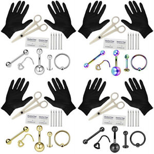 Professional Body Piercing Tool Kit Ear Nose Navel Eyebrow Lip Nose Needles  wy